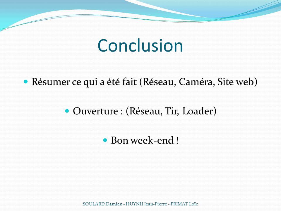 Conclusion Résumer ce qui a été fait (Réseau, Caméra, Site web)