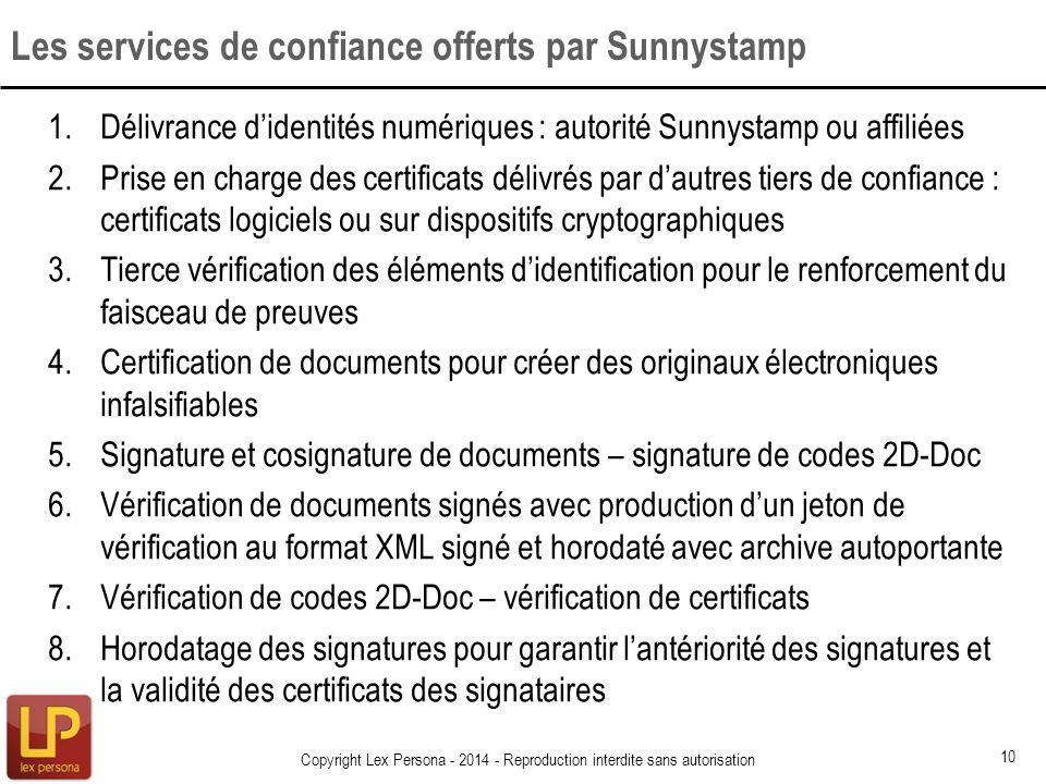 Les services de confiance offerts par Sunnystamp