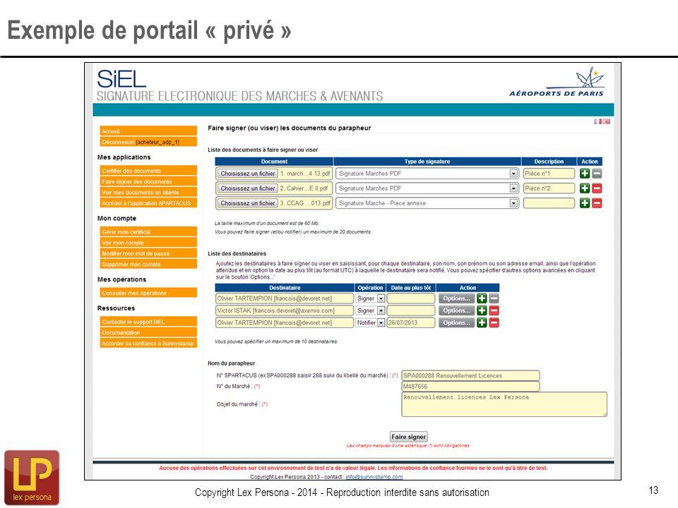 Exemple de portail « privé »