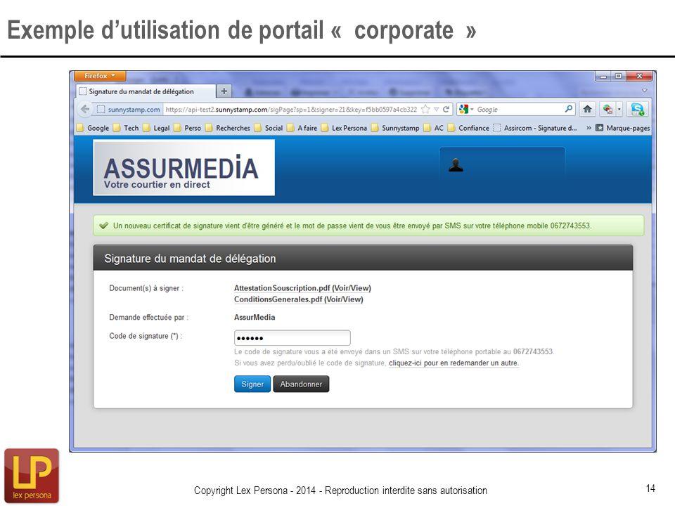 Exemple d'utilisation de portail « corporate »