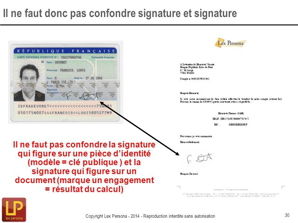 Il ne faut donc pas confondre signature et signature