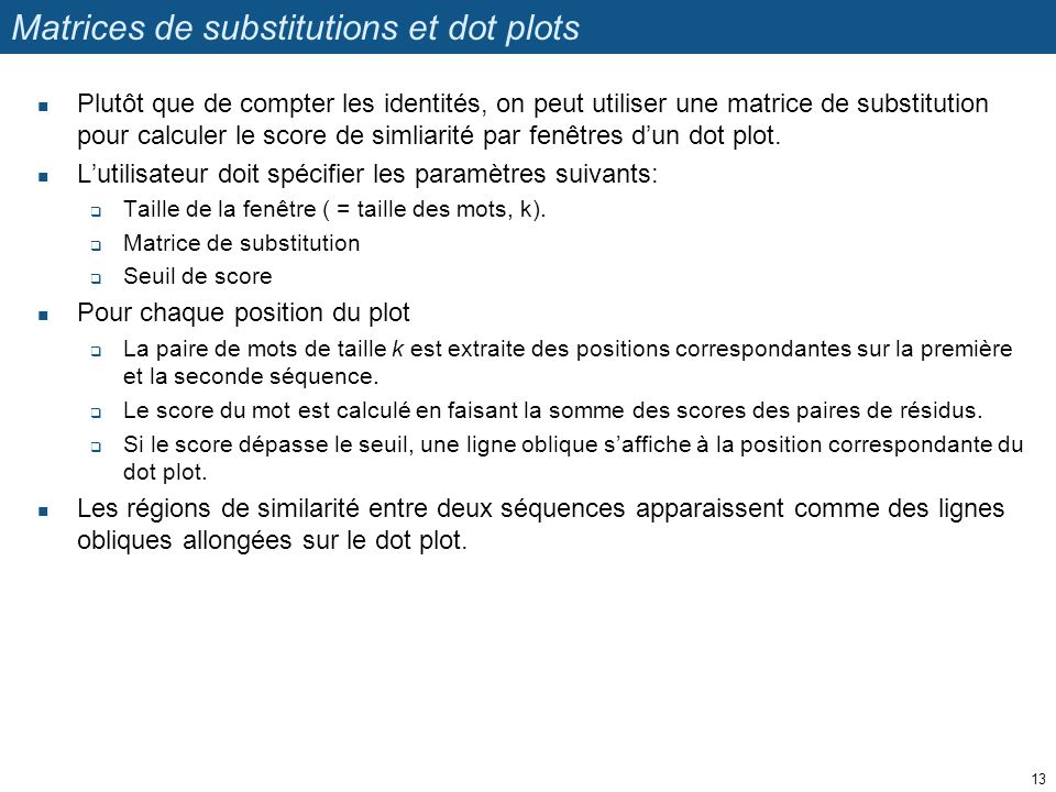Matrices de substitutions et dot plots