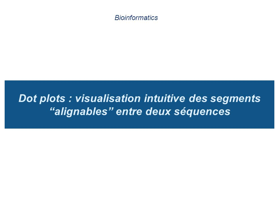 Bioinformatics Dot plots : visualisation intuitive des segments alignables entre deux séquences