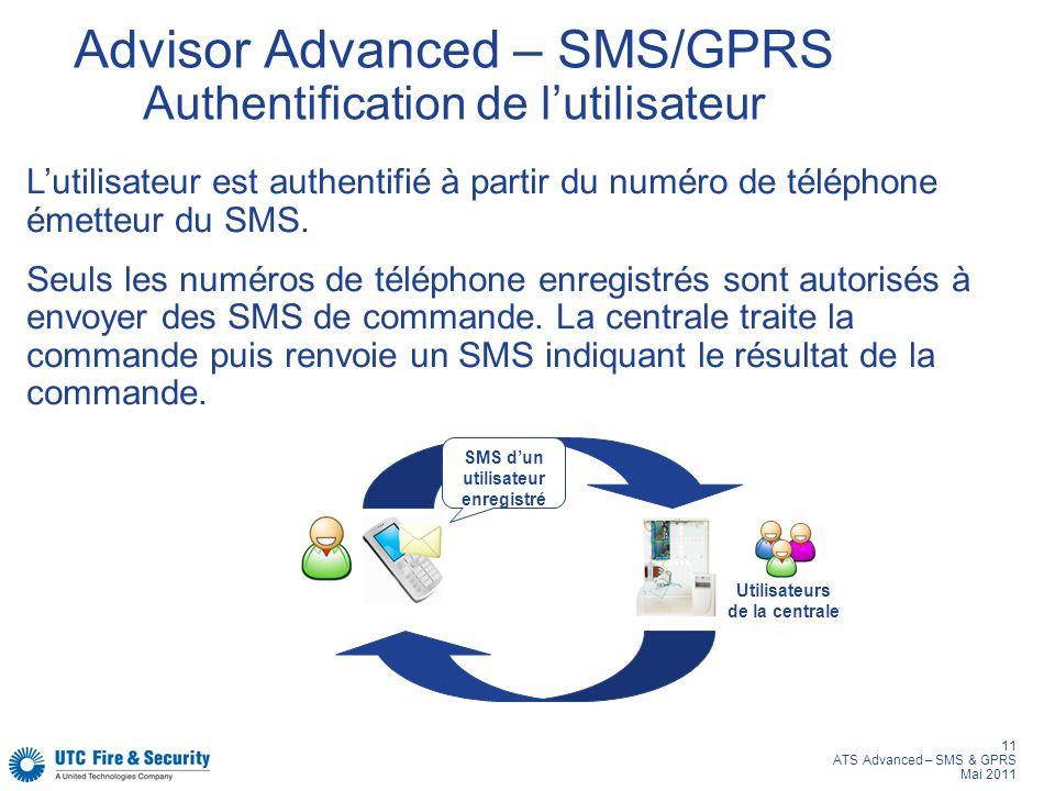 Advisor Advanced – SMS/GPRS Authentification de l'utilisateur
