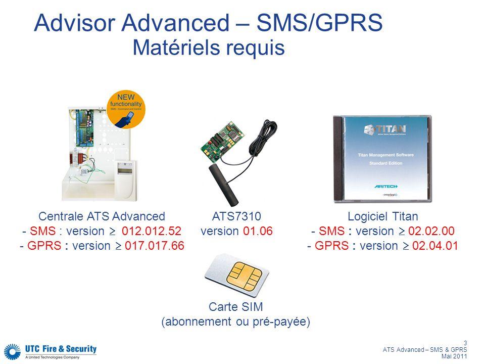 Advisor Advanced – SMS/GPRS Matériels requis