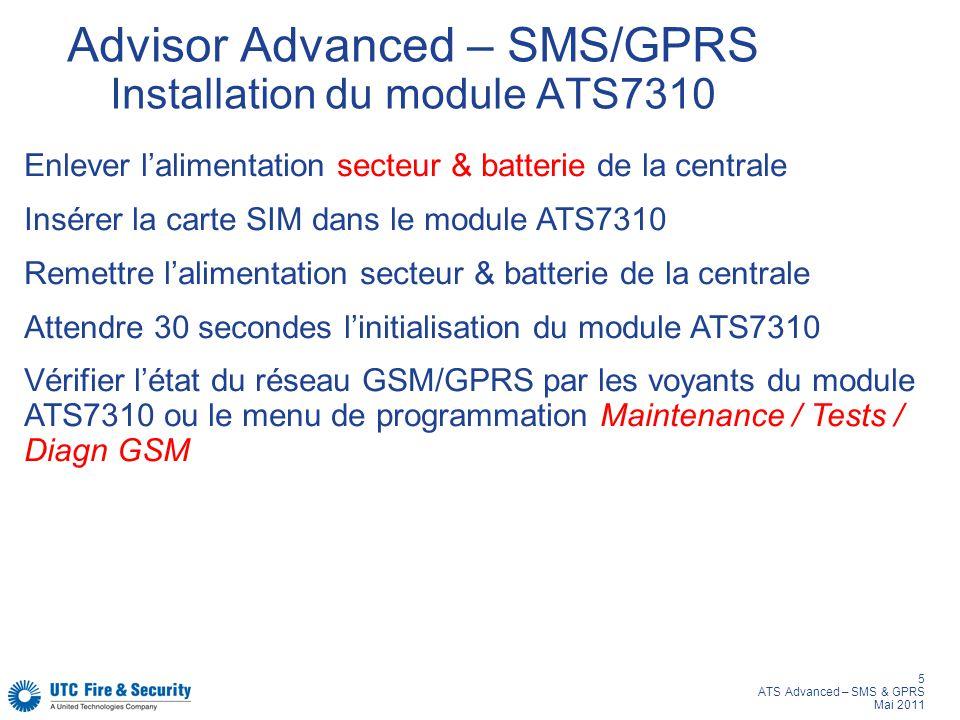 Advisor Advanced – SMS/GPRS Installation du module ATS7310