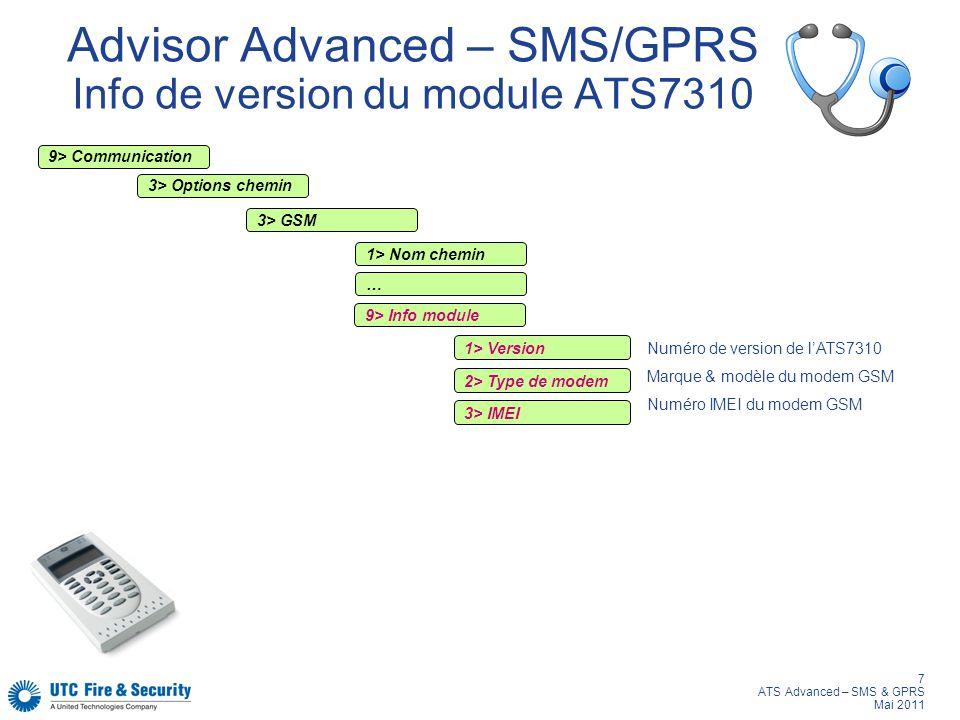 Advisor Advanced – SMS/GPRS Info de version du module ATS7310