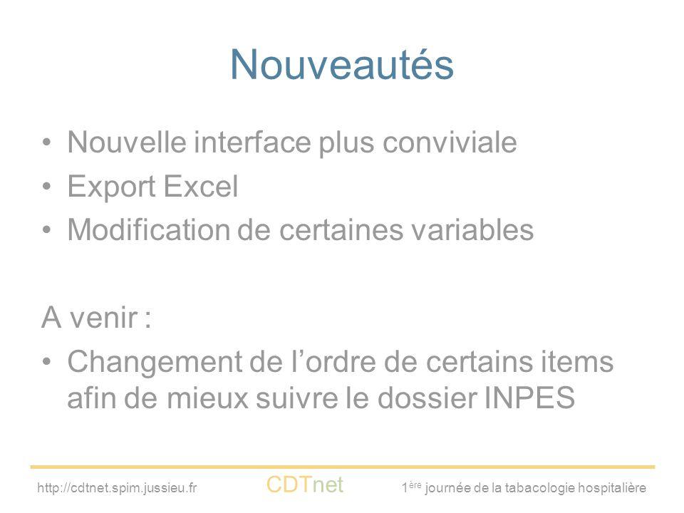 Nouveautés Nouvelle interface plus conviviale Export Excel