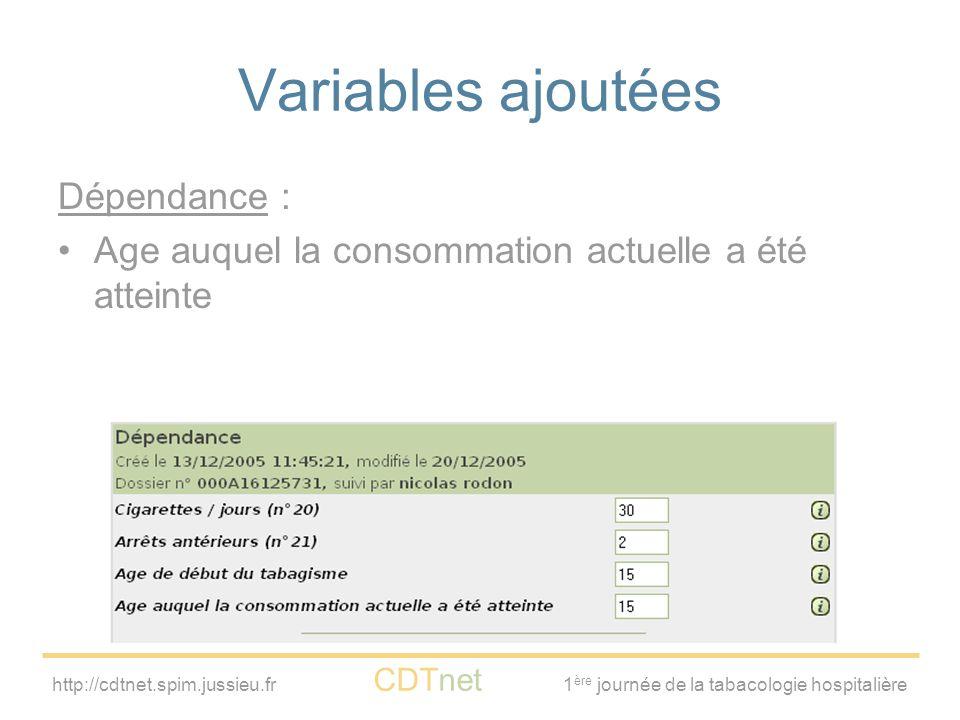 Variables ajoutées Dépendance :