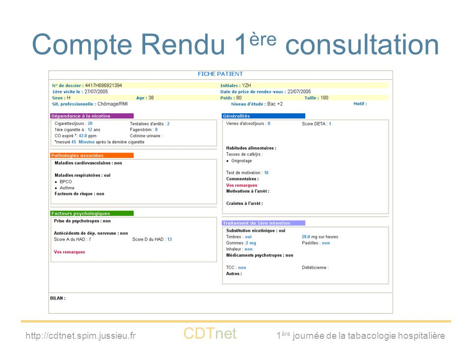 Compte Rendu 1ère consultation