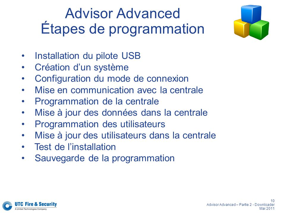 Advisor Advanced Étapes de programmation
