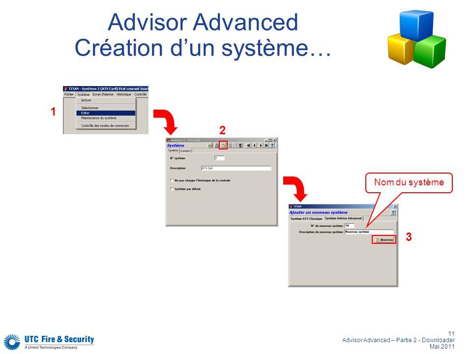 Advisor Advanced Création d'un système…