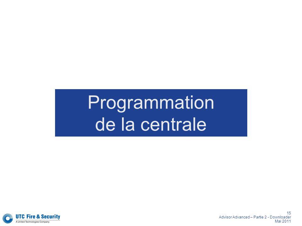 Programmation de la centrale