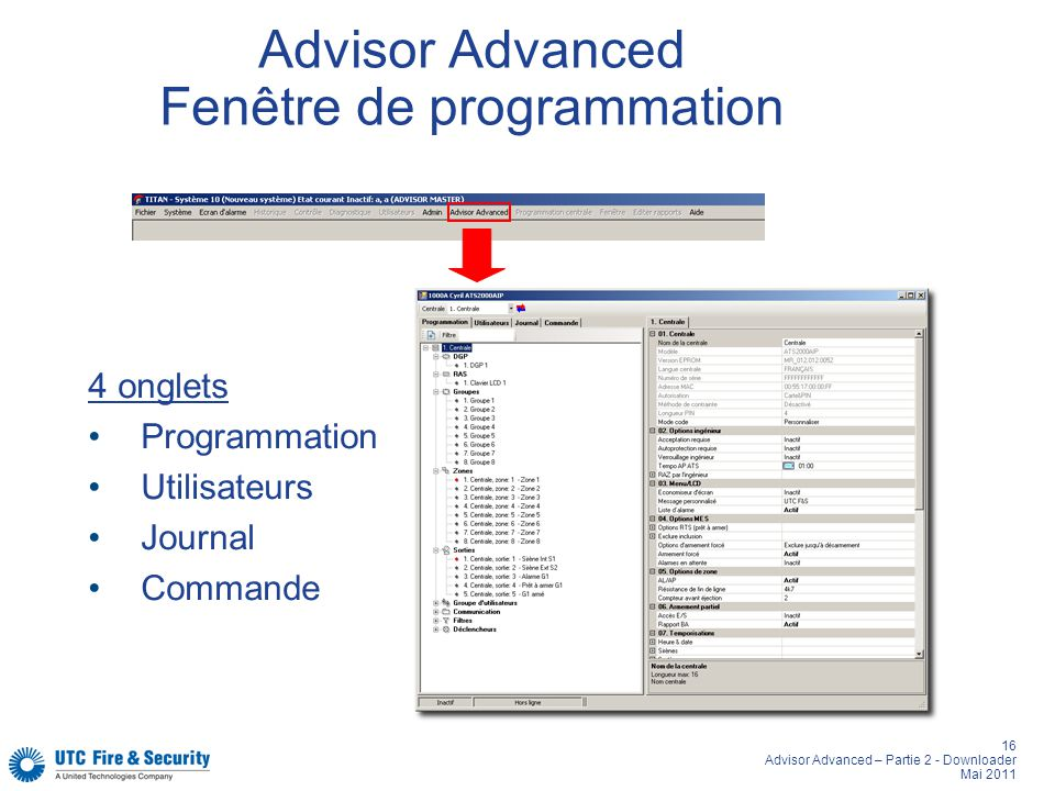 Advisor Advanced Fenêtre de programmation