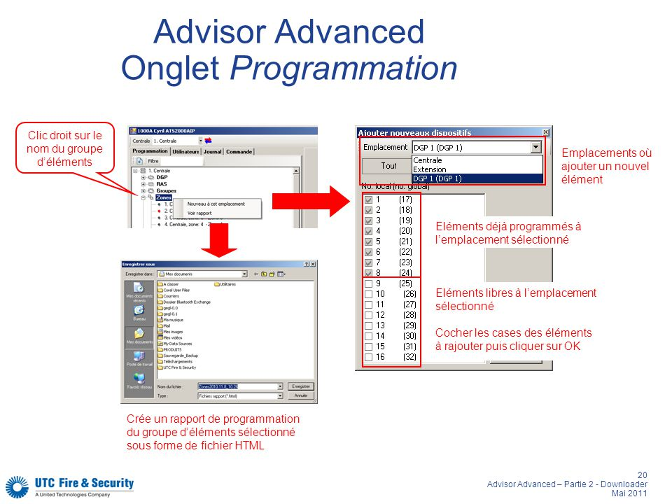 Advisor Advanced Onglet Programmation
