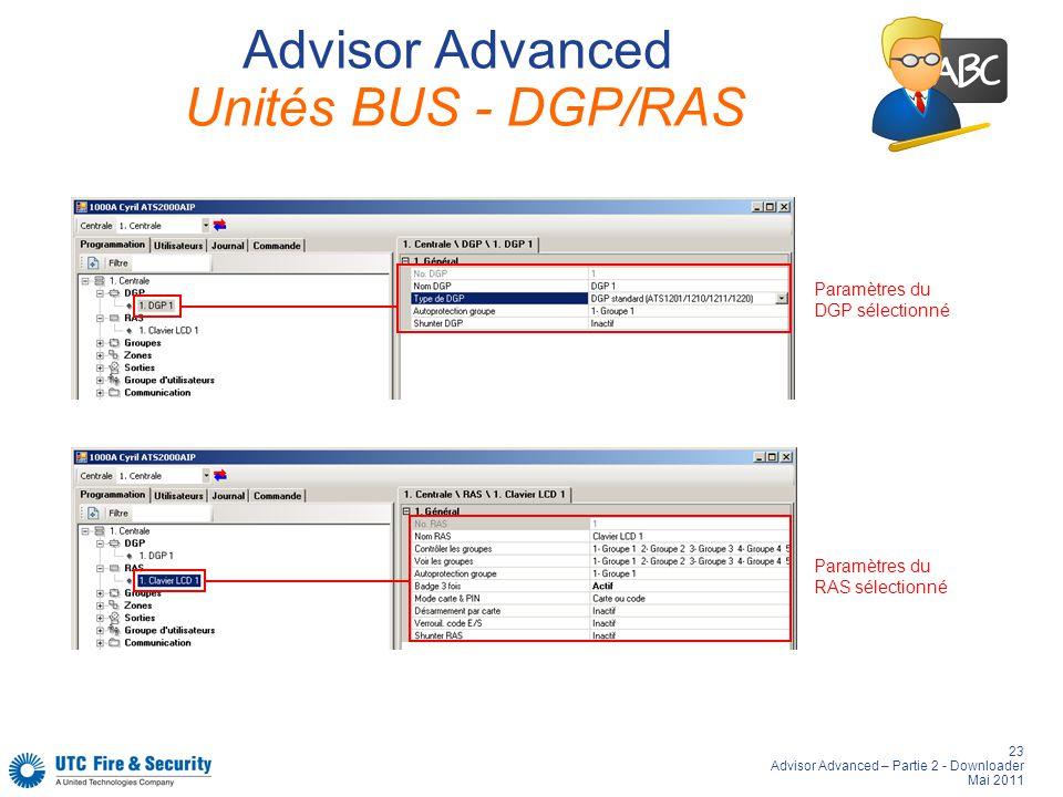 Advisor Advanced Unités BUS - DGP/RAS