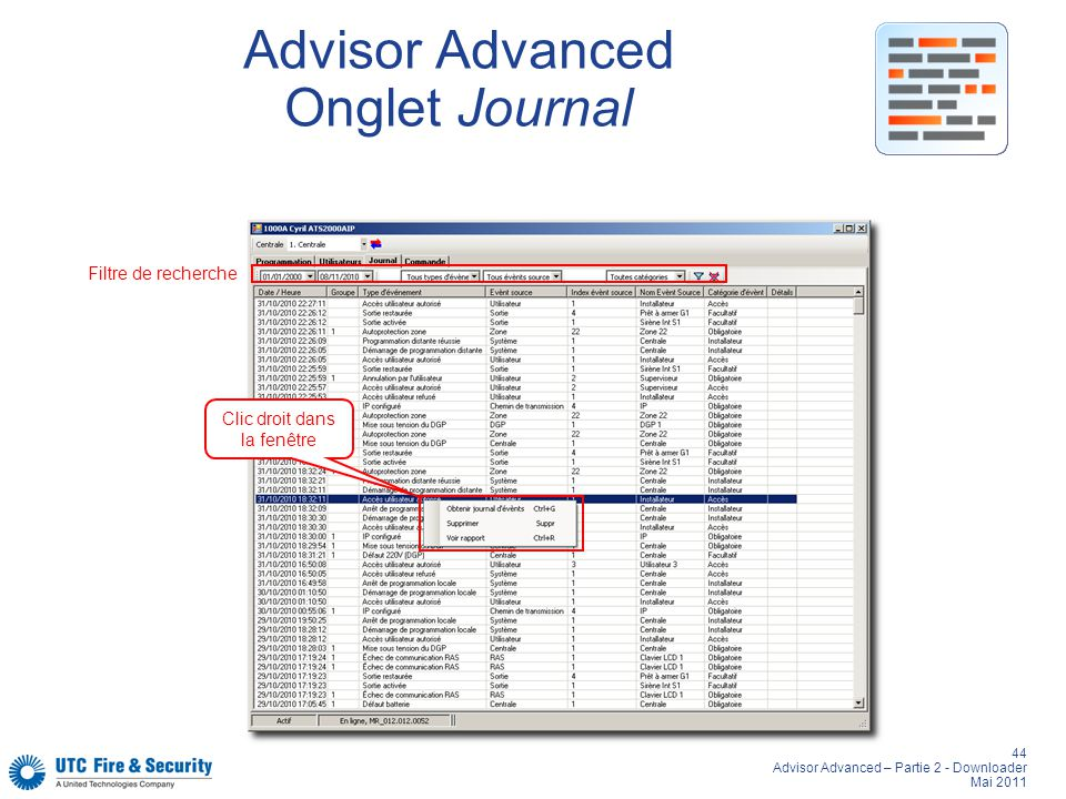 Advisor Advanced Onglet Journal