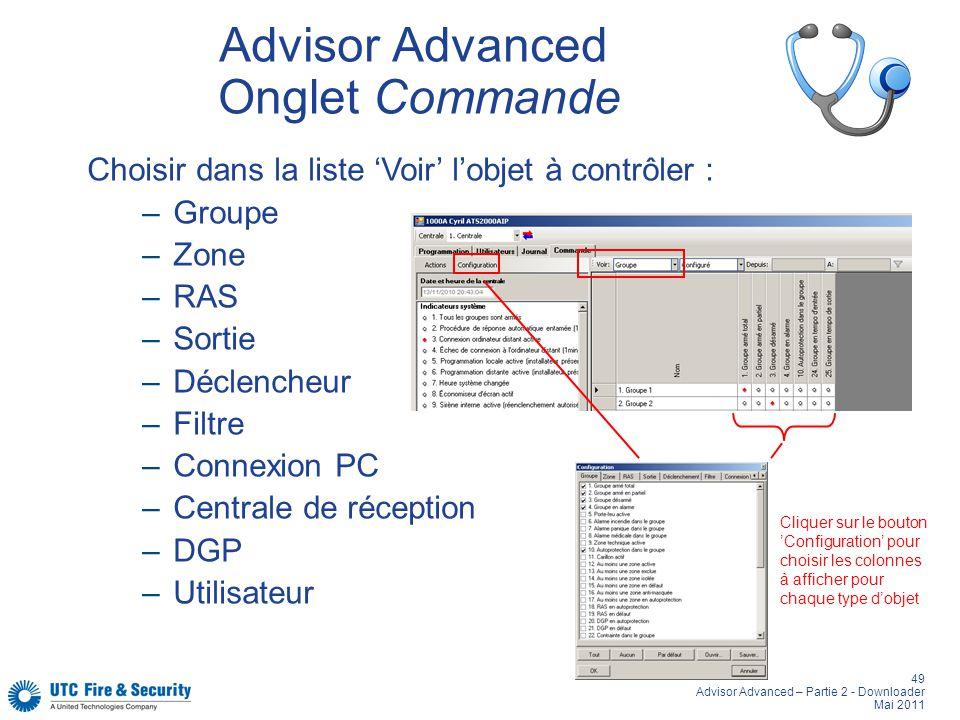 Advisor Advanced Onglet Commande