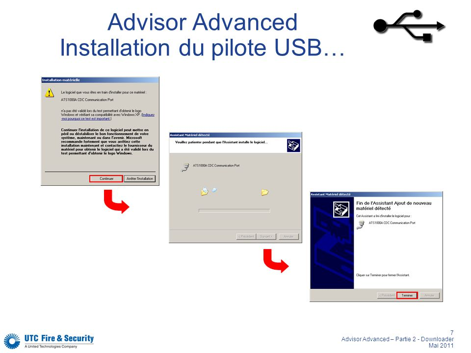 Advisor Advanced Installation du pilote USB…