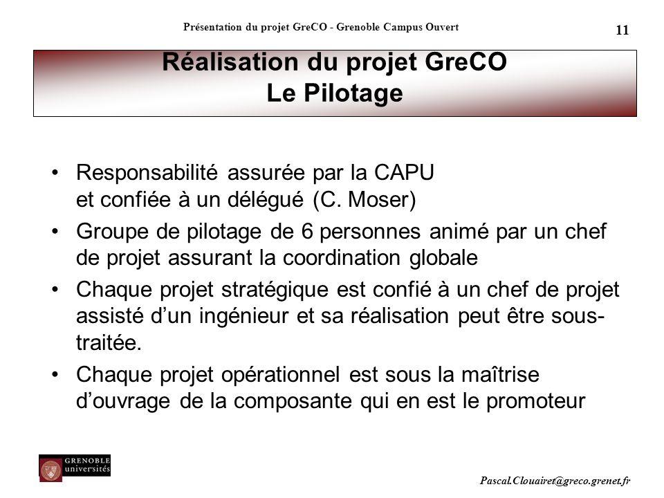 Réalisation du projet GreCO Le Pilotage