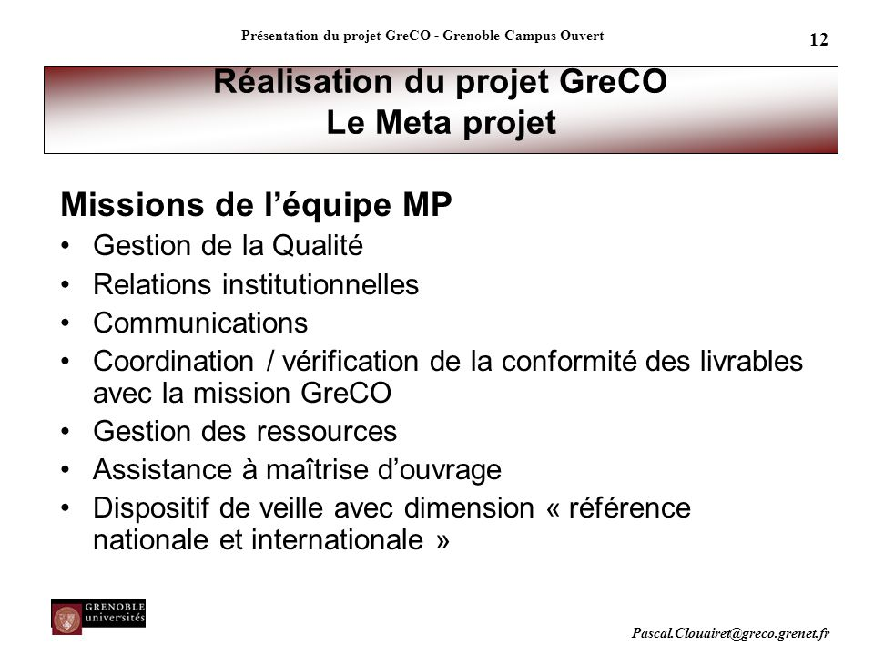 Réalisation du projet GreCO Le Meta projet