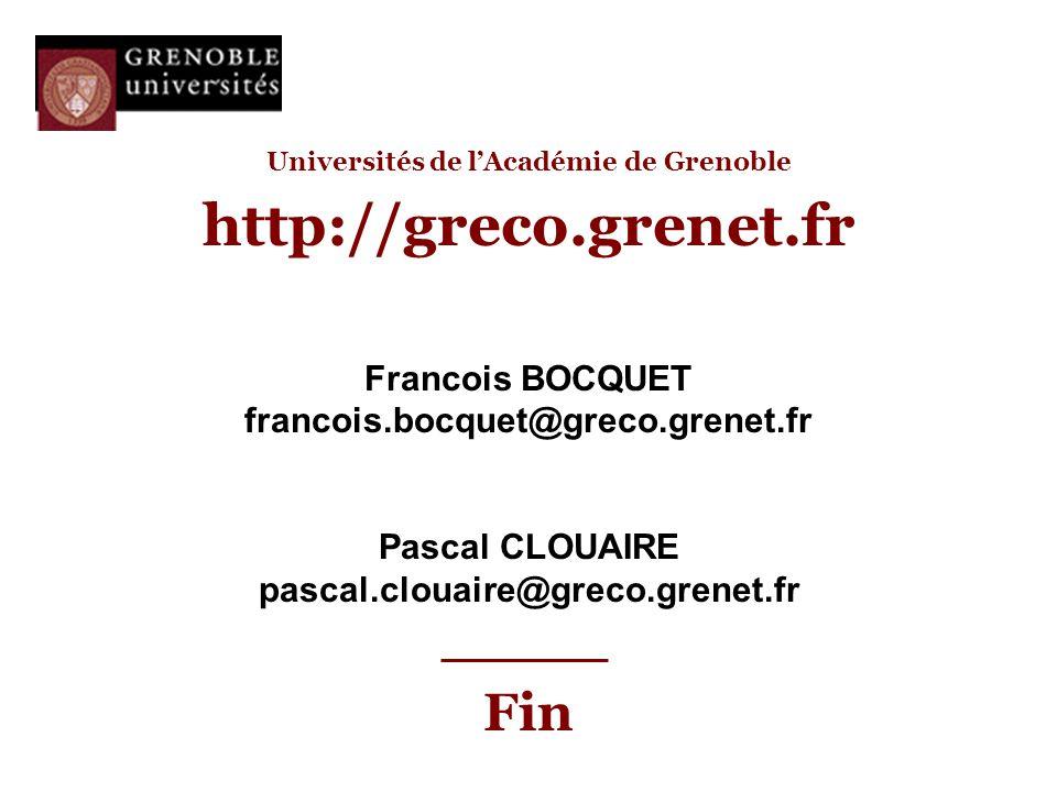 Universités de l'Académie de Grenoble http://greco.grenet.fr