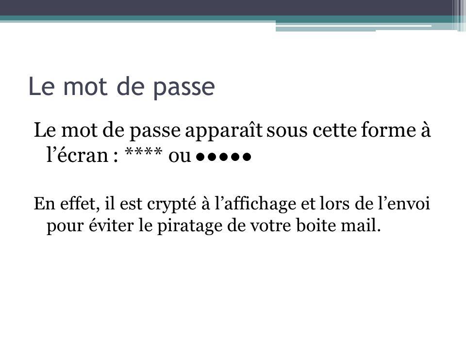 Le mot de passe Le mot de passe apparaît sous cette forme à l'écran : **** ou.