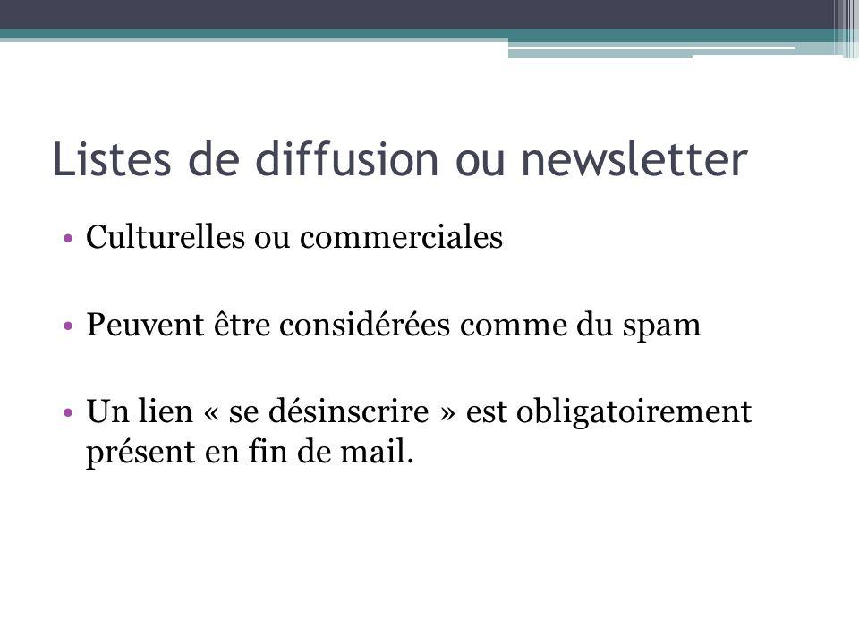 Listes de diffusion ou newsletter