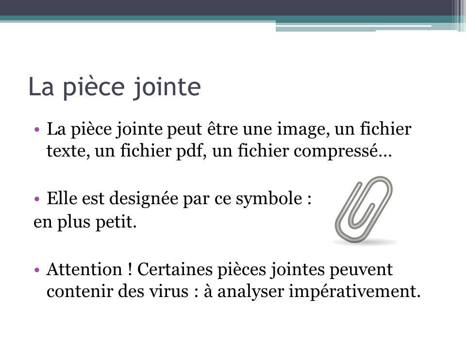 La pièce jointe La pièce jointe peut être une image, un fichier texte, un fichier pdf, un fichier compressé…