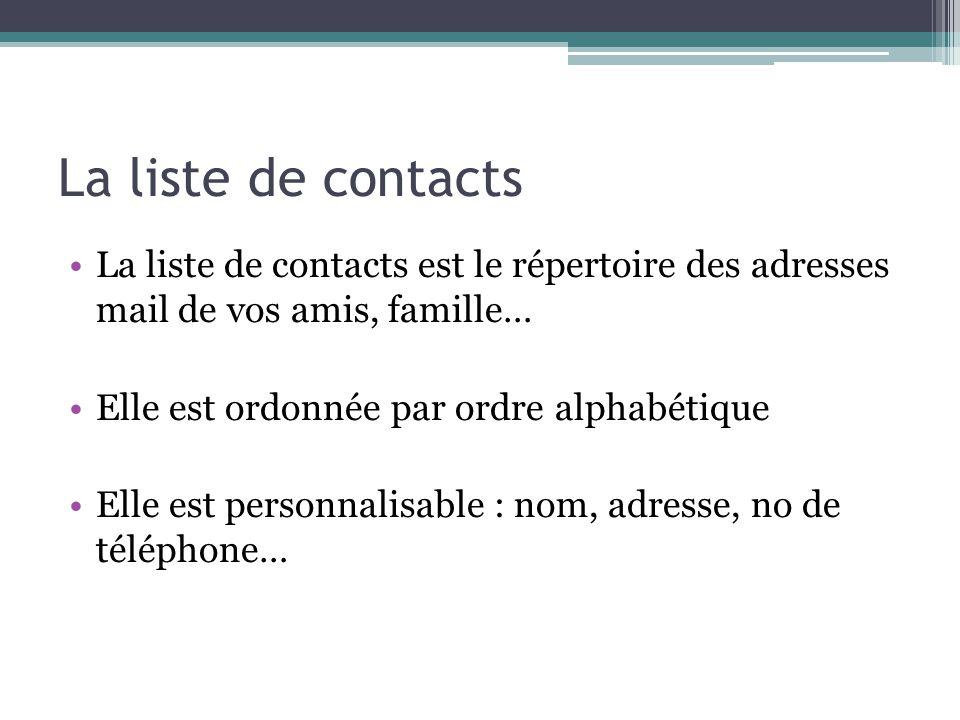 La liste de contacts La liste de contacts est le répertoire des adresses mail de vos amis, famille…