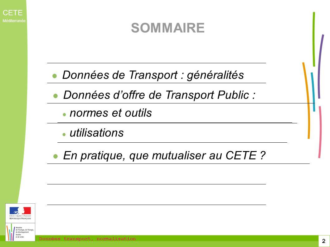 Données de Transport : généralités