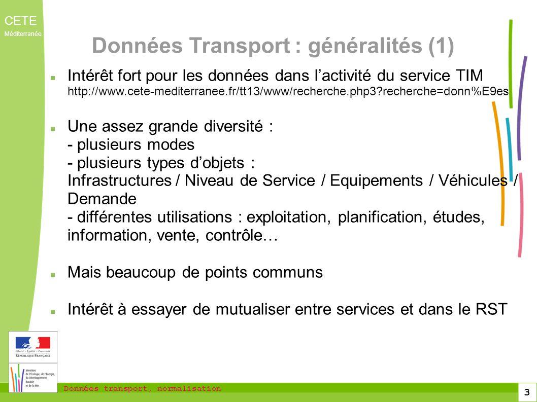 Données Transport : généralités (1)