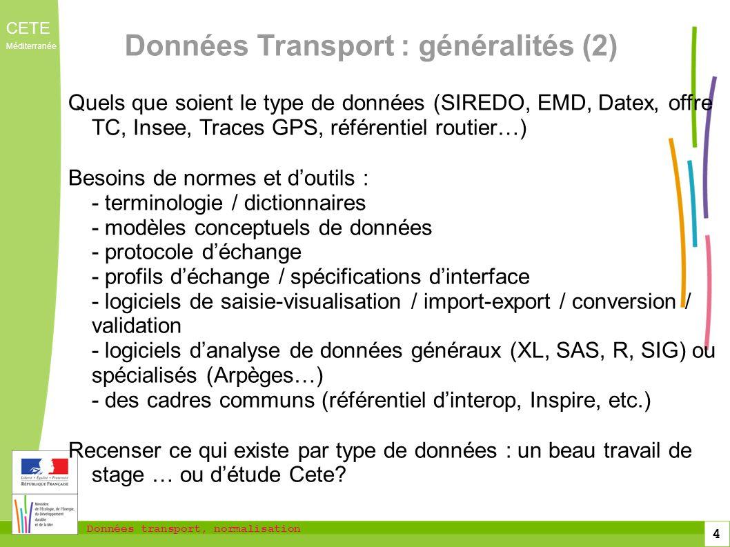 Données Transport : généralités (2)