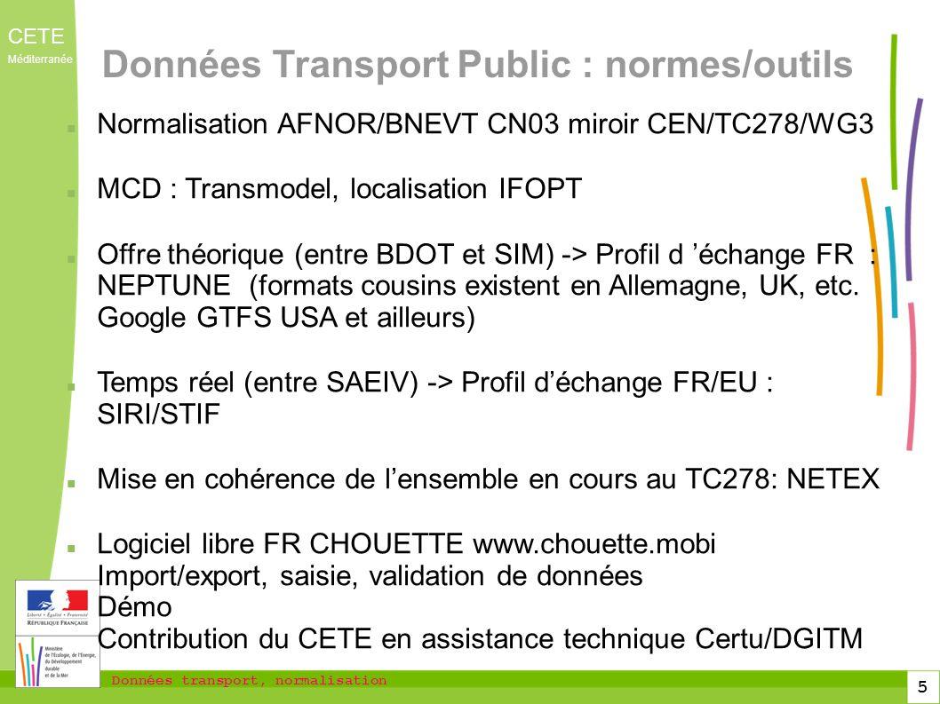 Données Transport Public : normes/outils