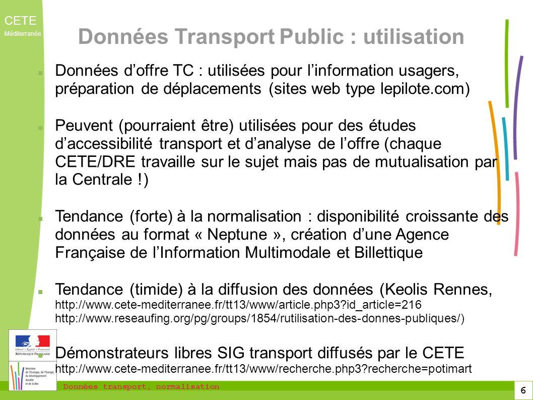 Données Transport Public : utilisation