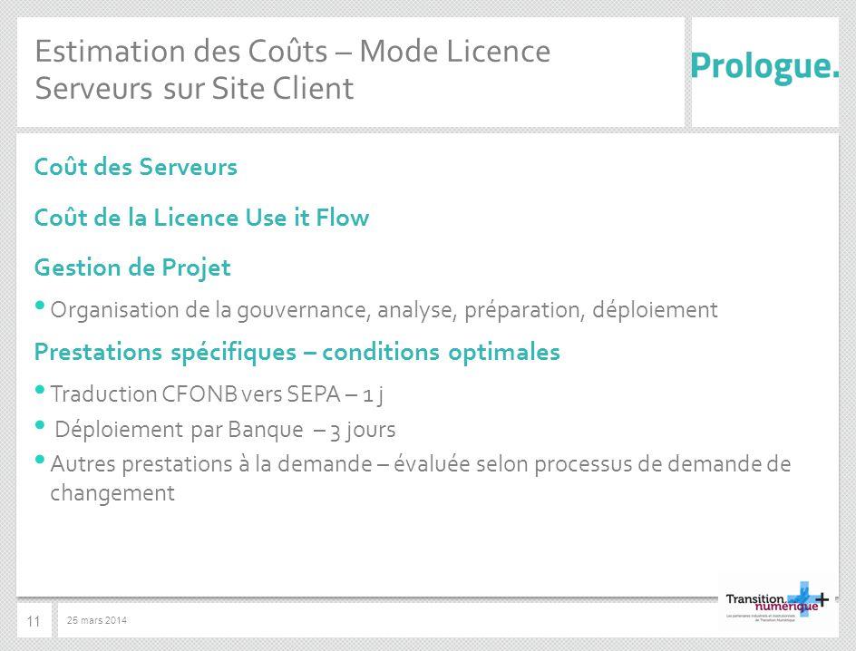 Estimation des Coûts – Mode Licence Serveurs sur Site Client