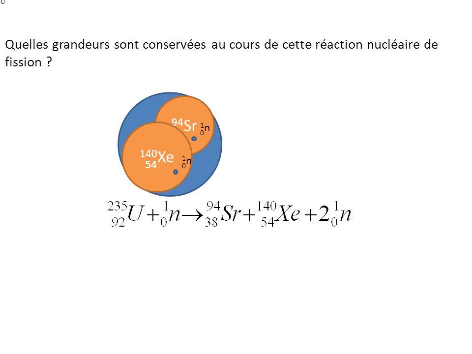 1n Quelles grandeurs sont conservées au cours de cette réaction nucléaire de fission 235U. 94Sr.