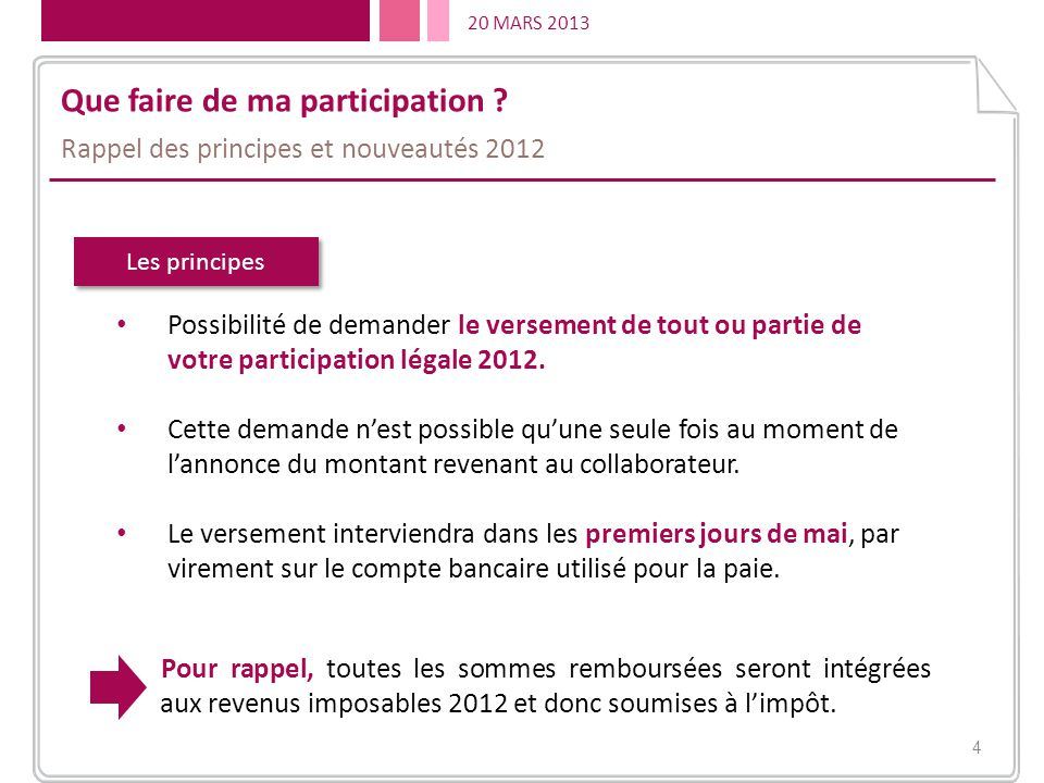 Que faire de ma participation