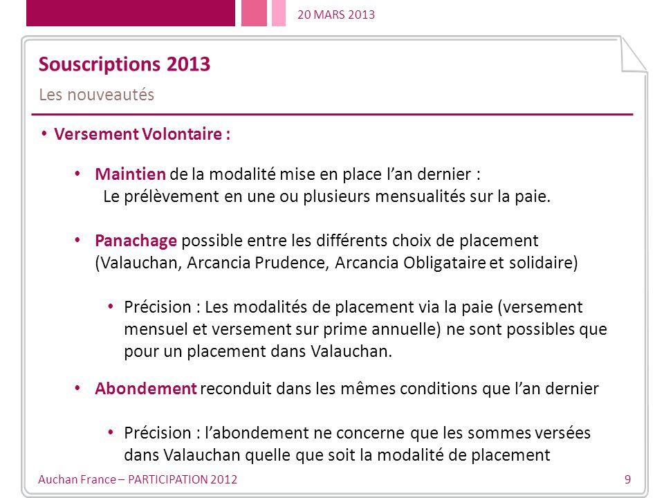 Souscriptions 2013 Les nouveautés Versement Volontaire :