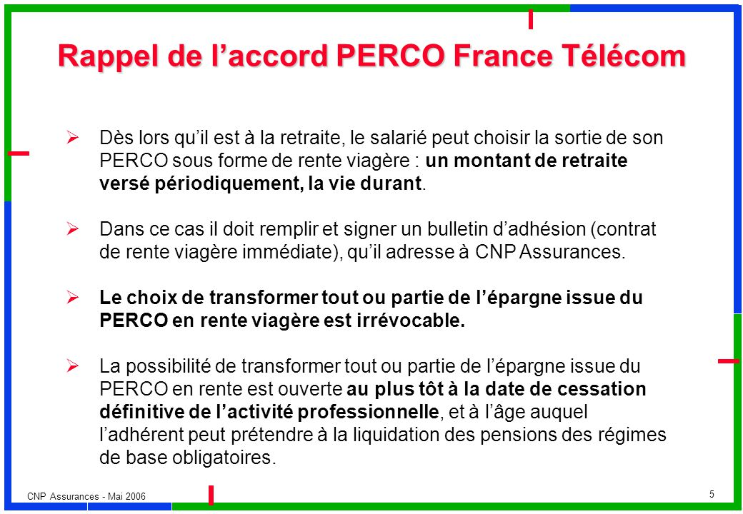 Rappel de l'accord PERCO France Télécom