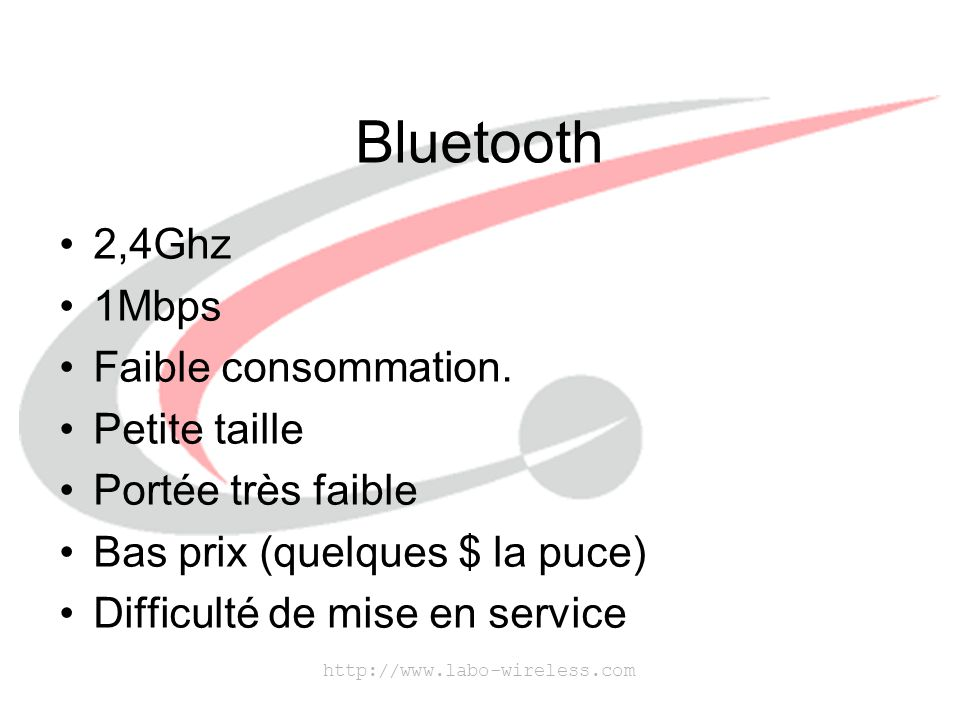 Bluetooth 2,4Ghz 1Mbps Faible consommation. Petite taille