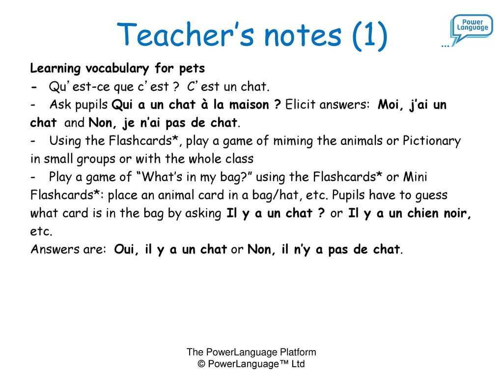 Teacher's notes (1) Learning vocabulary for pets