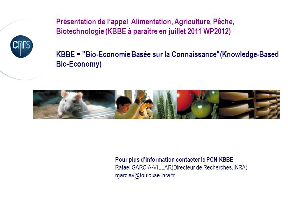 Présentation de l'appel Alimentation, Agriculture, Pêche, Biotechnologie (KBBE à paraître en juillet 2011 WP2012)