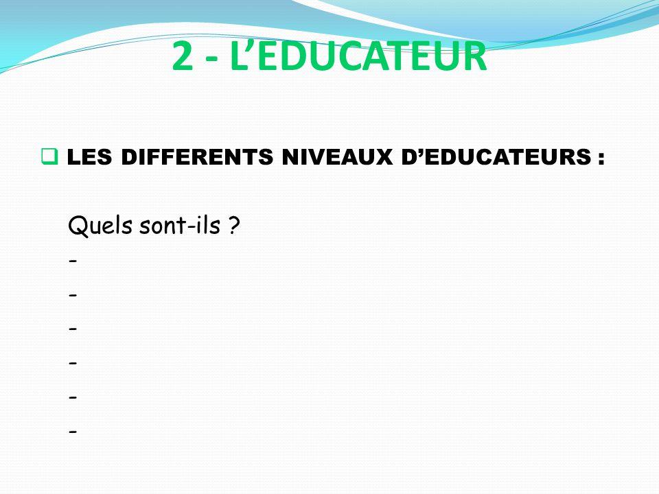 2 - L'EDUCATEUR LES DIFFERENTS NIVEAUX D'EDUCATEURS : Quels sont-ils