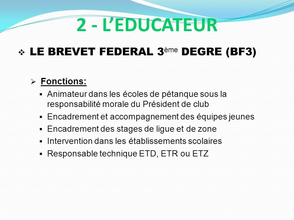 2 - L'EDUCATEUR LE BREVET FEDERAL 3ème DEGRE (BF3) Fonctions: