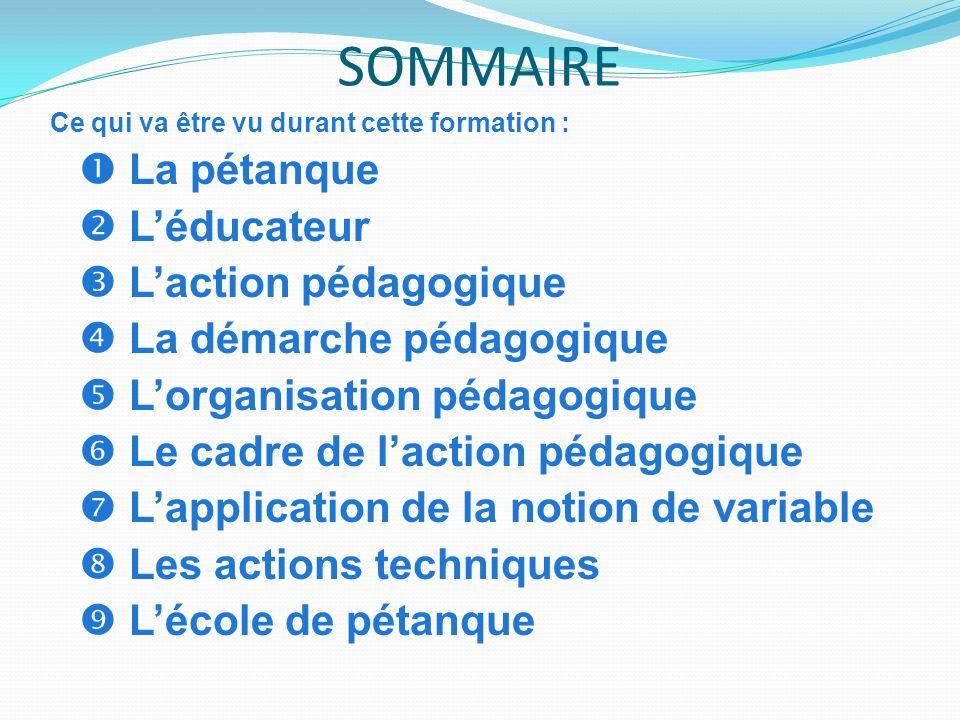 SOMMAIRE  L'éducateur  L'action pédagogique