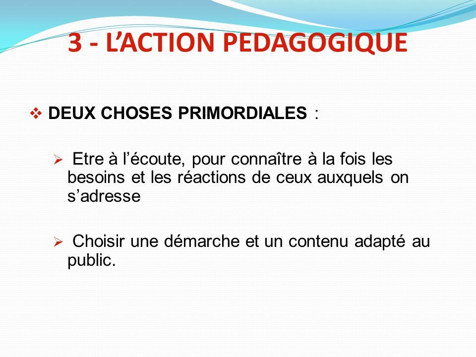 3 - L'ACTION PEDAGOGIQUE