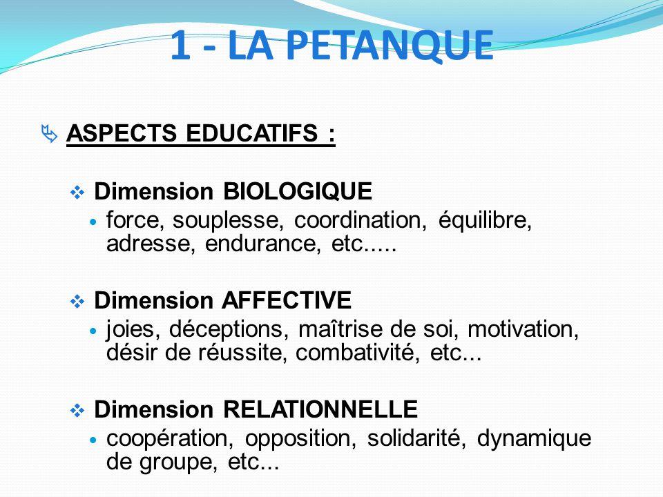 1 - LA PETANQUE Dimension BIOLOGIQUE