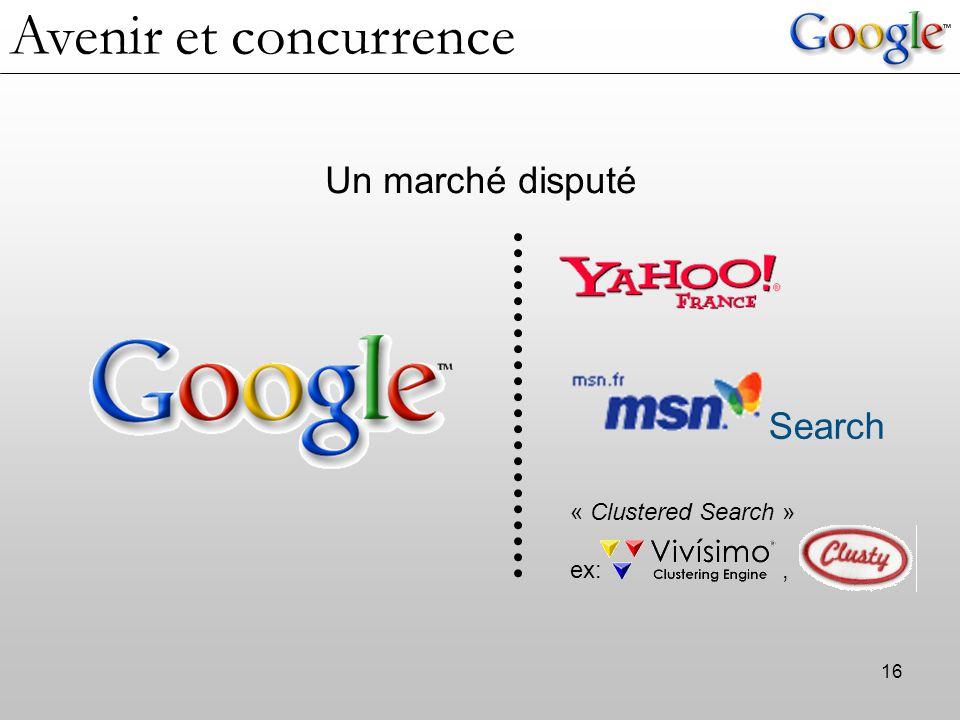 Avenir et concurrence Un marché disputé Search « Clustered Search »