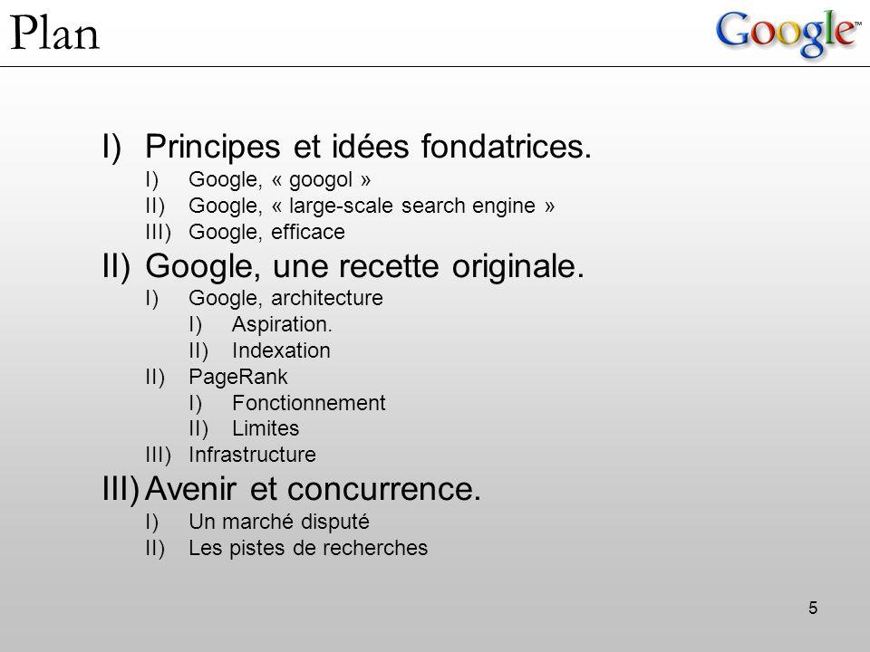 Plan Principes et idées fondatrices. Google, une recette originale.